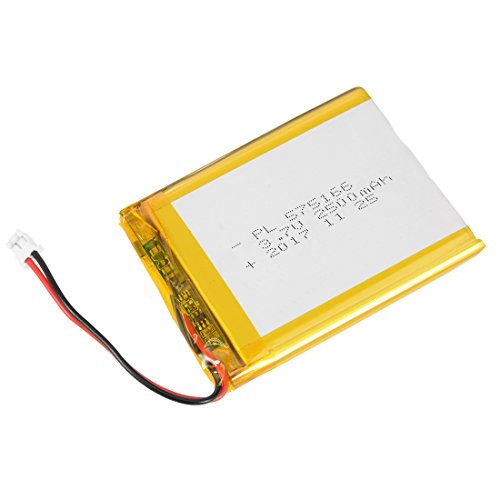 - uxcell Power Supply DC 3.7V 2500mAh 575166 Li-ion Rechargeable Lithium Polymer Li-Po Battery