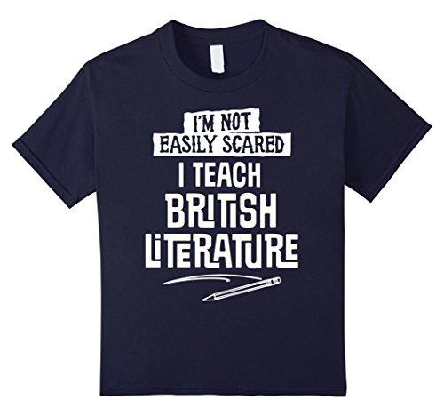 Kids Humorous British Literature Teacher T-Shirt for Women and Me 12 Navy