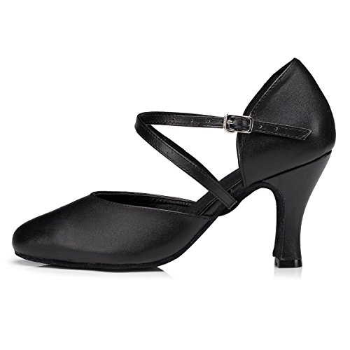 Cross Black Women's Salsa Ballroom Dance Leather MINITOO Shoes Strap Latin UK 6 tHR5xq6w