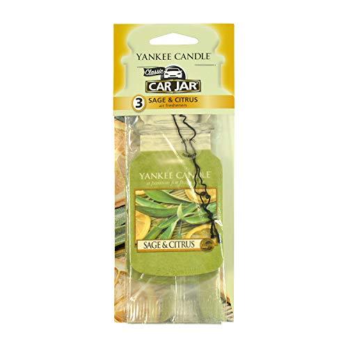 Yankee Candle Paper Car Jar Hanging Air Freshener Sage & Citrus Scent (Pack of 3) (Yankee Candle Hanging)