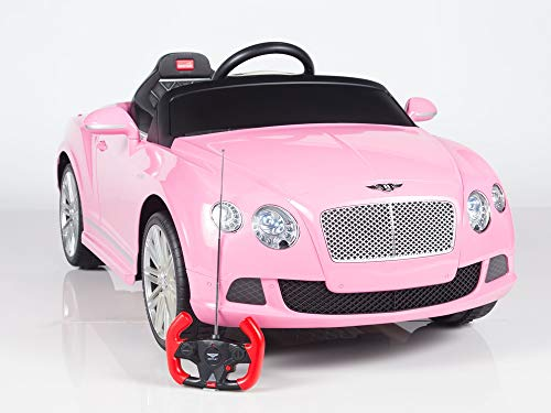 Aosom Bentley GTC Kids 12v Electric Ride on Toy Car w/ Parent Remote Control - Pink