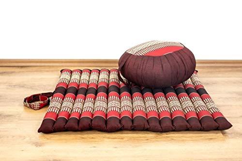 livasia Yogaset/Meditationsset der Marke Asia Wohnstudio: 1 x Zafukissen (Yogakissen) + 1 x Rollmatte (Meditationskissen…