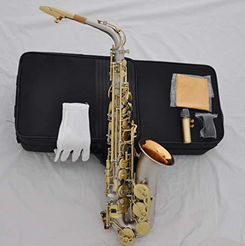 FidgetFidget Prof - Saxofón alto de níquel y plata mate con cascabel de oro + boca de metal + perla negra