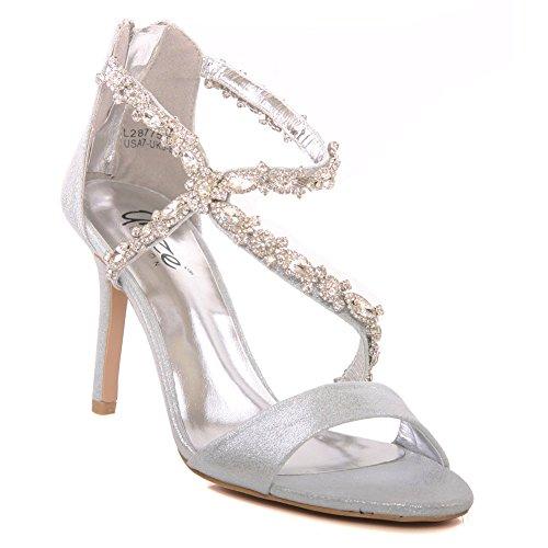 Unze Nuevas mujeres 'Gigi' Diamante Embellecido Peep Toe Alta Medias Talón de la tarde, Boda, Prom Party Shoes Tallas 3-8 Plateado