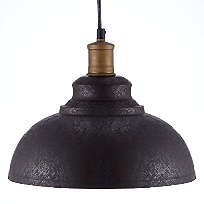 """BAYCHEER HL371892 Industrial Retro style Iron 11.8"""" Wide Antique Rust Loft Metal Fixture Pendant Lights Lamps with 1 Light"""
