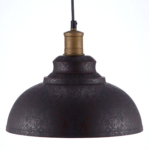 BAYCHEER HL371892 Industrial Retro style Iron 11.8″Wide Antique Rust Loft Metal Fixture Pendant Lights Lamps with 1 Light Review