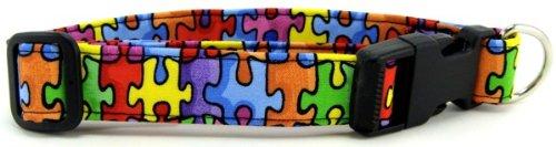 Awareness Dog Collar - K9 Bytes Autism Awareness Puzzle Dog Collar, Extra Large