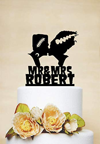 Cheyan Novelty Wedding Cake Topper Frankenstein And Bride Halloween Frankenstein Silhouette Anniversary Cake Topper Party Event Decorations]()