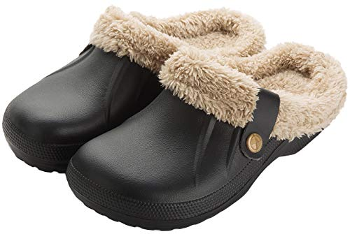 Waterproof Slippers Women Men Fur Lined Clogs Winter Garden Shoes Warm House Slippers Indoor Outdoor Mules