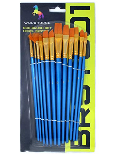 VViViD Synthetic Sable Short Handled 12-Piece Assorted Paint Brush - Handled Filbert