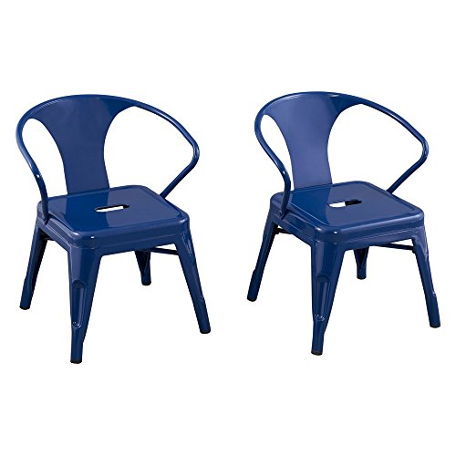 - Reservation Seating Kids Steel Chair, Navy, One Size