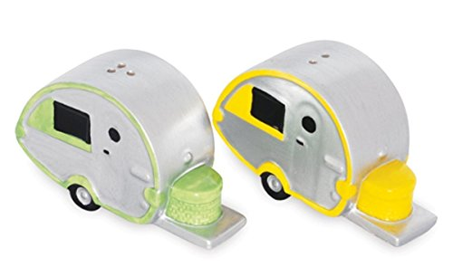 Silver Teardrop Camper Design Ceramic Salt and Pepper Shakers by Cape Shore