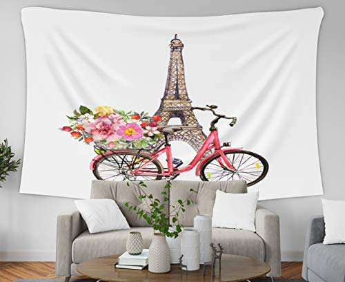 Jacrane Tapestry Wall Hanging with 50x60 Inches Pink Bicycle Flowers in Basket Eiffel Tower Paris France Watercolor French Art Tapestries for Bedroom Living Room Home Decor Wall Hanging Tapestries