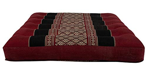 Thai Positioning Pillow - NRG Thai Massage Kneeling Pad Mat, 15 x 14 x 2-1/2 Inches, Mattress Cushion Pillow for Massage, Yoga and Meditation (Black/Red)