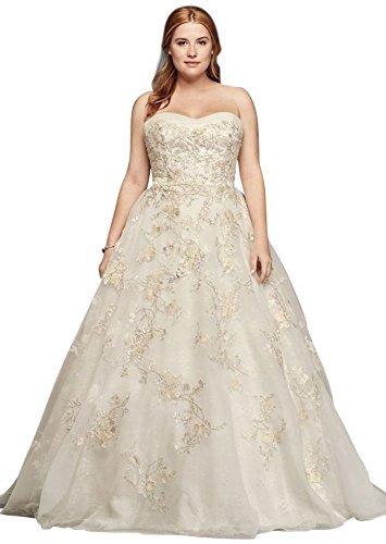 Plus Size Oleg Cassini Organza Wedding Dress with Beading Style (Oleg Cassini Bridal Dresses)