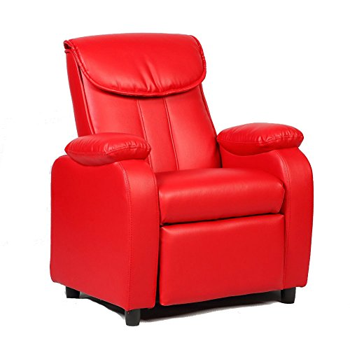 GentleShower Padded PU Leather Kids Recliner with Overstuff Armrest/Headrest, Contemporary Children Reclining Sofa Upholstered Chair for Living Room bedroom (Red)