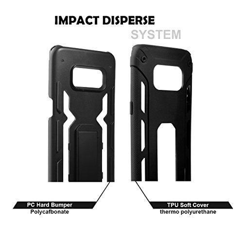 Galaxy S8 Case,YELUN[Heavy Duty]Shockproof Slim Fit Dual Layer Soft TPU & Hard PC Rugged Holster Cover Full-body Protective Bumper Case with Kickstand for Samsung Galaxy S8 (Black) by YELUN (Image #5)
