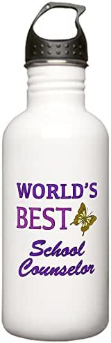 CafePress - World's Best School Counselor (Butterfly) Stainles - Stainless Steel Water Bottle, 1.0L Sports Bottle