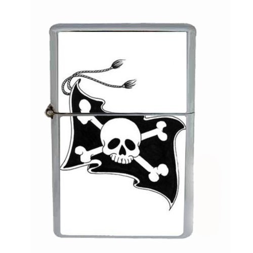(Pirate Jolly Roger Skull Flag Wind Proof Dual Torch Refillable Lighter D-060 by Perfection In Style)