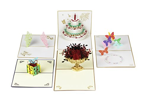 Miniwings Happy Birthday Cards Greeting Cards Special Gift Cards Handmade Premium 3D Pop Up Papercraft Creative Colorful Cards Set of 5-Assortment Pac…
