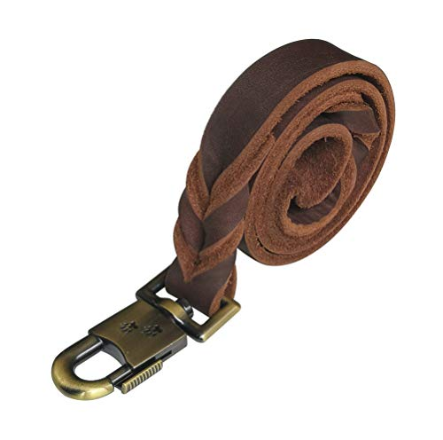 kgt Genuine Leather Braided Dog Training Leash Heavy Leather Duty Lead for Larger Dog (3 Ft-1 in)