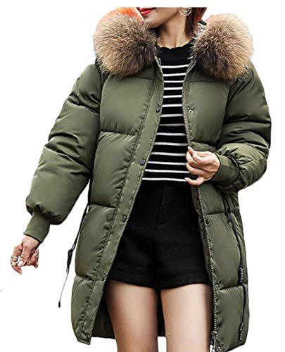 Long TTYLLMAO Size Army Thick Women's Down Plus Green Jacket Overcoat Coat Outwear Hooded Parka Zip qrfxt1r
