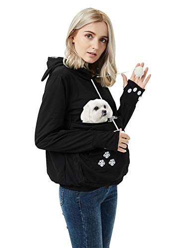 Unisex Pet Carrier Hoodie Cat Dog Pouch Holder Sweatshirt Shirt Top 2XL Black
