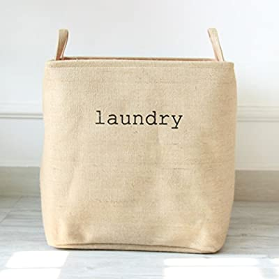 APSOONSELL Collapsible Jute Laundry Basket L-Size -  - laundry-room, hampers-baskets, entryway-laundry-room - 41WChWL8gZL. SS400  -