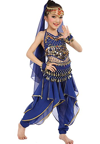 Astage Girls Oriental Belly Dance Sets Costumes All accessories Dark Blue M(Fits 5-7 Years) (Dark Dance Costumes)