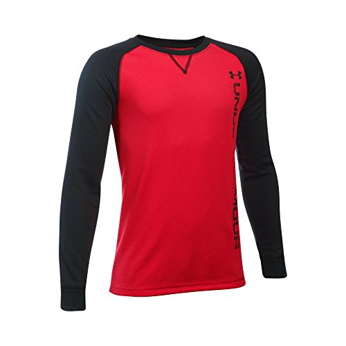 Under Armour Boys' Waffle Crew, Red/Black, Youth X-Large