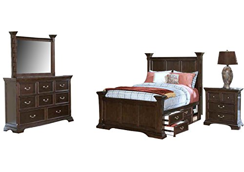New Classic Timber City Bedroom Set with King Bed, Nightstand, Dresser and Mirror ()