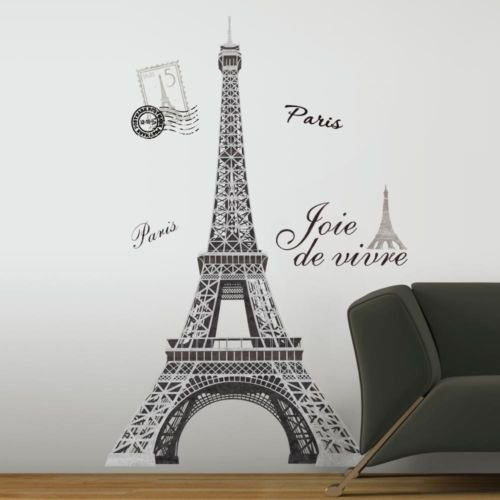 "(New 56"" EIFFEL TOWER GIANT WALL DECALS Mural France Paris Stickers Room Decor)"