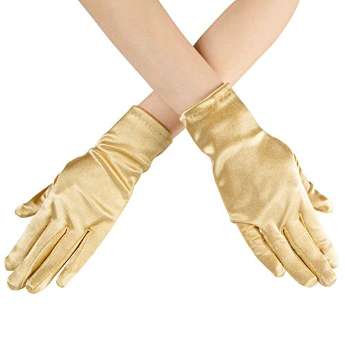 - Xuhan Short Opera Costume Dress Satin Gloves for Women Wrist Length (8.66 inches-Gold)