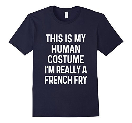 French Fry Halloween Costumes (Mens Funny French Fry Costume Shirt Halloween Kids Men Women 3XL Navy)