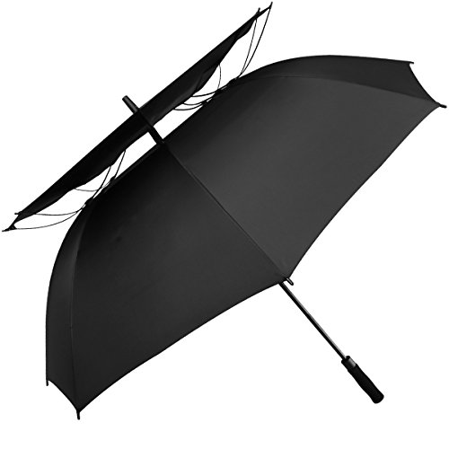 G4Free 62 Inch Large Automatic Open Windproof Golf Umbrella Vented Double Canopy Extra Large Oversize Windproof Waterproof Stick Umbrellas(Black)