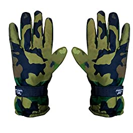 Generic Bike Riding/Multipurpose Waterproof Winter Warm Army Green Gloves for Men & Women X-Large Size_024