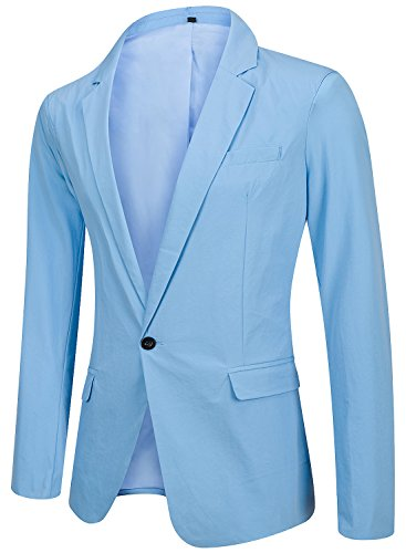 Men's Regular Fit Casual One Button Blazer Jacket Summer Fitted Sports Suit Coat