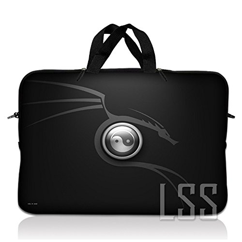 LSS 10 10.2 inch Laptop Sleeve Bag Compatible with Acer, Asus, Dell, HP, Sony, MacBook & more | Carrying Case Pouch w/ Handle , Ying Yang Black - Neoprene Kindle Dx Sleeve
