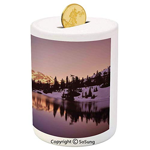 Lake House Decor Ceramic Piggy Bank,Snow Capped Mt Shuksan and Lake at Sunset Evening View National Forest Washington 3D Printed Ceramic Coin Bank Money Box for Kids & Adults,Yellow Purple