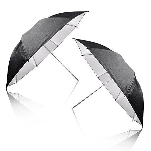 Emart 2 x 33 Photography Studio Photo Lighting Flash Reflective Black/Silver - Umbrella Photo Silver