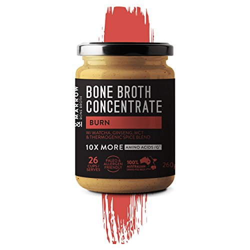 Burn - Performance Bone Broth Concentrate Range - 9.17 oz - Fat Burning, Boost Metabolism, Aids Fasting.Includes MCT Oil, Matcha green tea, Olive leaf, Ginseng
