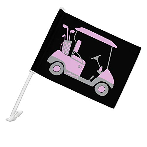 GRAPHICS & MORE Pink Golf Cart Car Truck Flag with Window Clip On Pole Holder - Left Driver Side