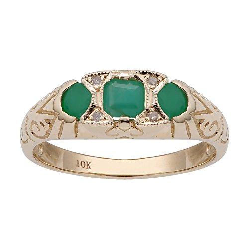 Emerald Ring Genuine 3 Stone (10k Yellow Gold Vintage Style 3-Stone Genuine Emerald and Diamond Ring)
