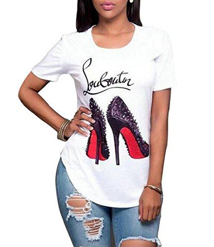 (Oberora-Women Slim Fit Short Sleeve High-Heel Digital Print Tee T-Shirt Top White M)