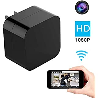 1080P WiFi Hidden Cam Wall Charger USB Hidden Cameras Mini Camera Charger Wireless Video Recorder Home Security System - Motion Detector Nanny Camera