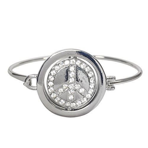 Flip Center Theme Silver Tone Hook Bangle Bracelet (Peace Sign) ()