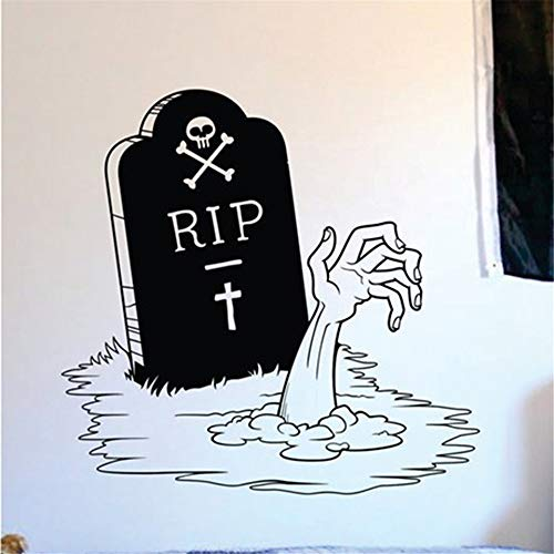 Seois Vinyl Wall Sticker Decal Quote Home Decor New Happy Halloween Zombie Hand and Tombstone Living Room Carving Sticker for Holiday Party Home Window Decor ()