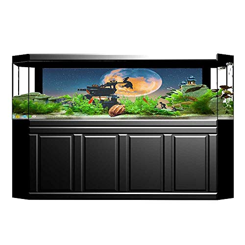 UHOO2018 Fish Tank Decorations Decor Dead Queen in Castle and Zombies in Cemetery Love Affair Bridal Halloween HD Fish Tank Decorations Sticker 35.4