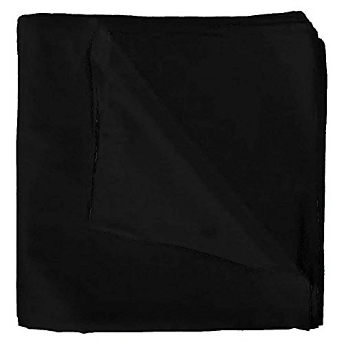 Set of 3 Solid 100% Polyester Unisex Bandanas Black 22 in ()