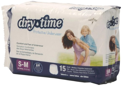 Medline Drytime Disposable Protective Youth Underwear, Small/Medium, 15 Count (Pack of 4)